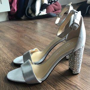 NWT Ivanka Trump silver glitter heels